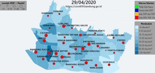 Peta sebaran covid-19 di Kota Bandung. (covid19.bandung.go.id)