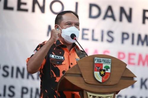 Menpora Amali sebagai Wakil Ketua MPO memberikan sambutan pada Rapat Kordinasi Majelis Pimpinan Nasional (MPN) Ormas Pemuda Pancasila (PP), di Hotel Bumi Wiyata Depok Jawa Barat, Sabtu (3/4) sore. Menpora minta ingin semua kader tidak boleh melupakan seja